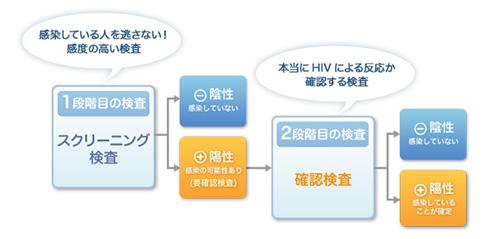 [1段階目の検査]スクリーニング検査…感染している人を逃さない!感度の高い検査 [2段階目の検査]確認検査…本当にHIVによる反応か確認する検査